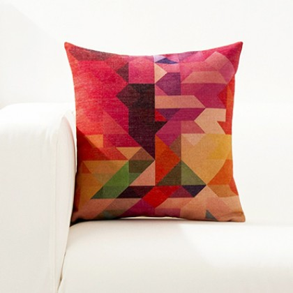 Bright Color Geometry Cushion Cover J