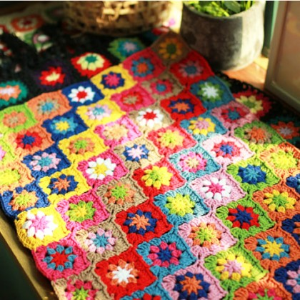 Rainbow Flower Handmade Crochet Runner