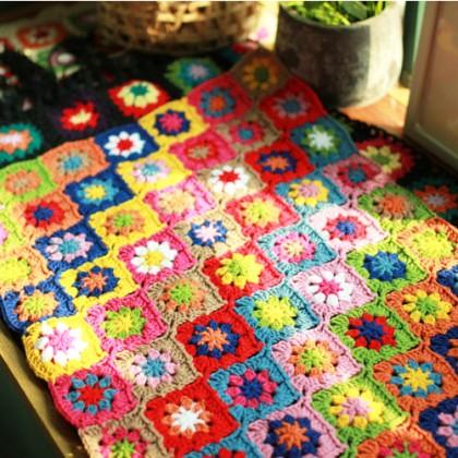 Rainbow Flower Handmade Crochet Runner