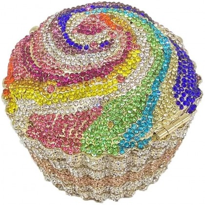 Rainbow Sparkle Cupcake Crystal Clutch Evening Wedding Party Bridal Diamond Minaudiere Handbag Purse