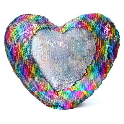 Rainbow Heart Sparkle Glitter Sequin Cushion