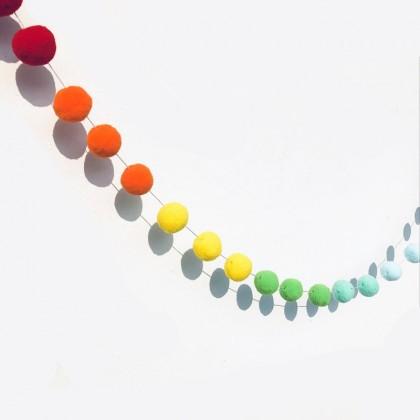 Rainbow Pom Pom Banner Garland