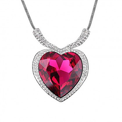 Heart Of The Ocean Titanic Crystal Pendant Necklace-Rose