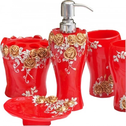 Red Rose Bathroom Set 5pcs