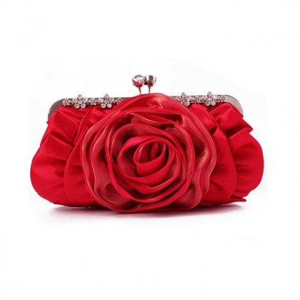 Blooming Rose Purse,  Red
