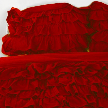 Red Waterfall Ruffle Bedding Set