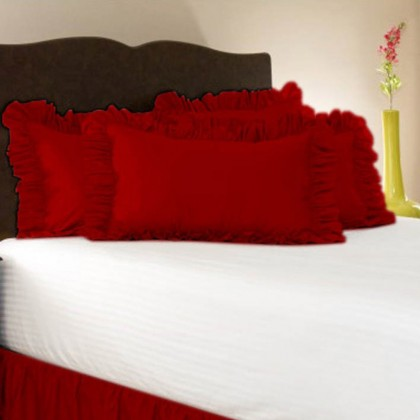 Simply Ruffle Pillow Cover - Crimson/Red