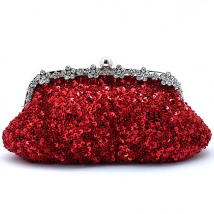 Bead Sequined Purse, Red