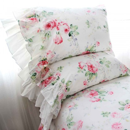 Double Ruffle Pillow Sham-Red Rose