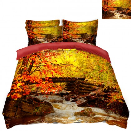River Fall Scenery Duvet Covet Set