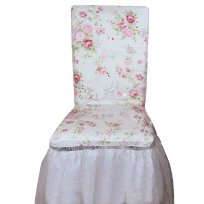 White Romance Rose Ruffle Chair Cover