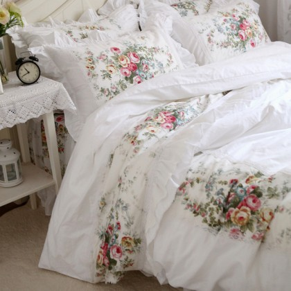 Royal Rose Garden Ruffle Duvet Cover Set