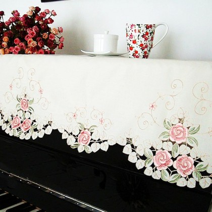Embroidery Pink Rose Piano Cover
