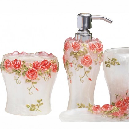 Shabby Chic Pink Rose Bathroom Set 5pcs