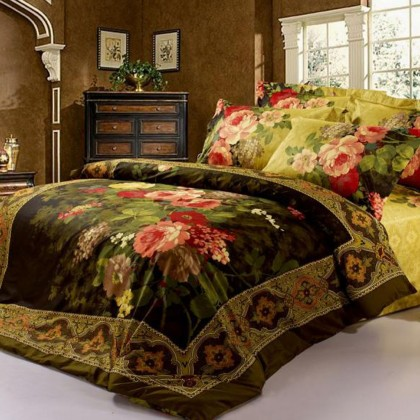 Royal Garden Luxury Oil Painting Queen Bedding Set