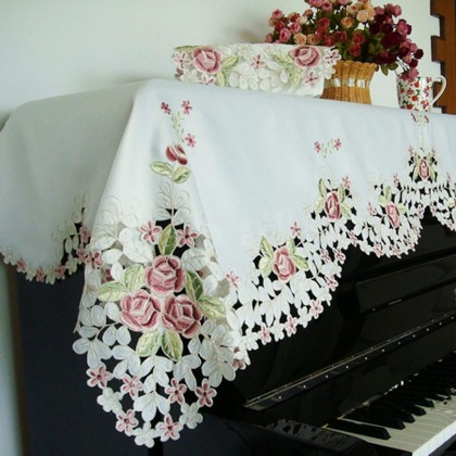 Embroidery Rose Piano Top Cover