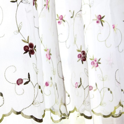 Royal Rose Embroiderey Cafe Curtain Valance