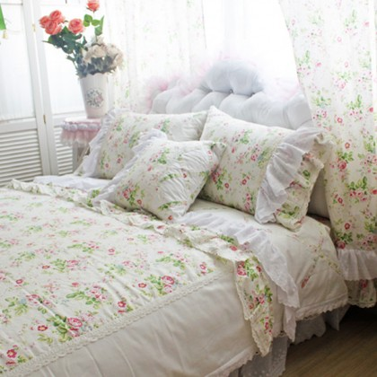 French Rose Linen Duvet Cover Set