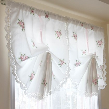 Victorian Rose lace Pull Up Curtain-Final Sale