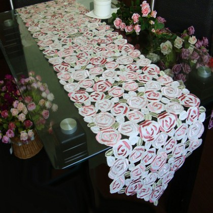Rose Bush Embroidery Rose Table Runner