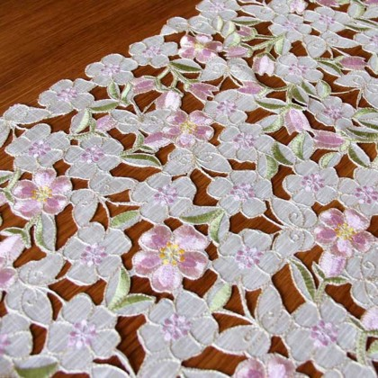 Luxury Embroidered Cutwork Handmade Pastel Table runner