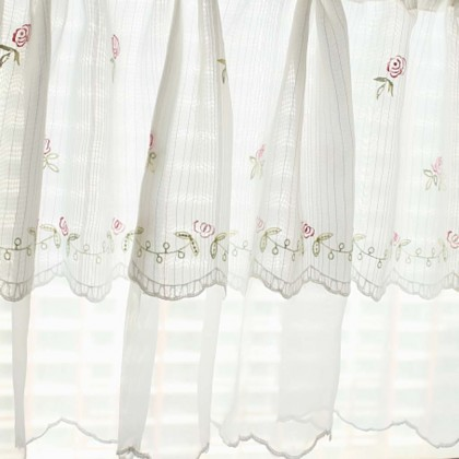 Delicate Embroidery Rose Valance Curtain