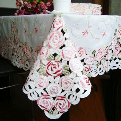 Rose Bush Embroidery Tablecloth