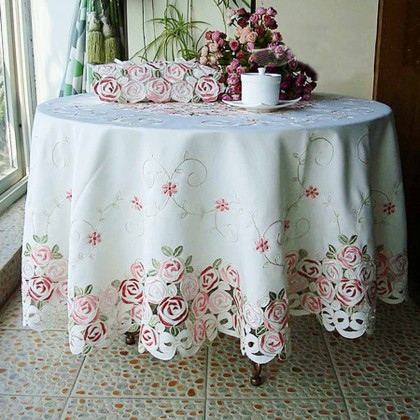 Rose Bush Embroidery Tablecloth Round