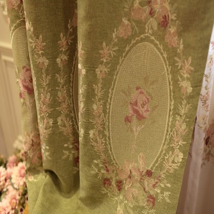 Royal French Rose Green Curtain