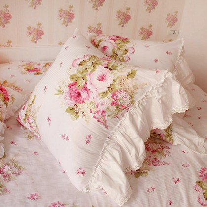 Ruffle Rose Cushion Cover
