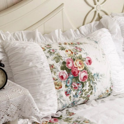 Royal Rose Garden Ruffle Ruched  Pillow Sham