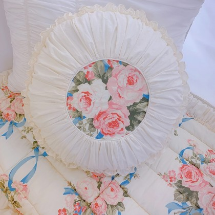 Rose Ribbons Accent Pillow