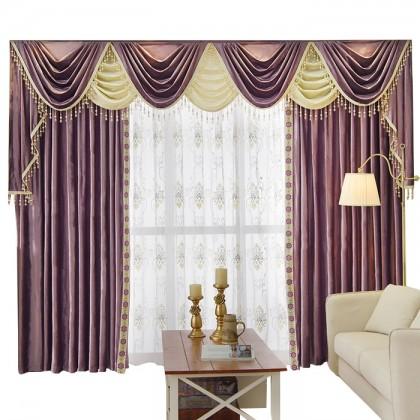 Purple Swag Tails Valance Curtain Set