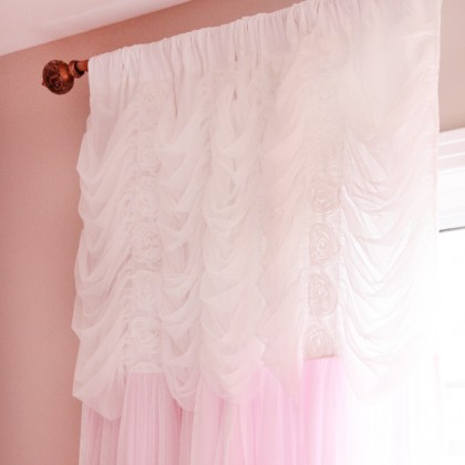 Pink Ruching Ruffle Curtain Panel