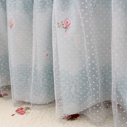 Victorian Blue Rose Tulle  Bed Skirt