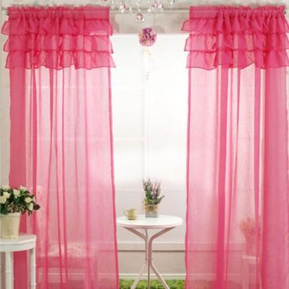Ruffle Sheer Curtain Set, Pink