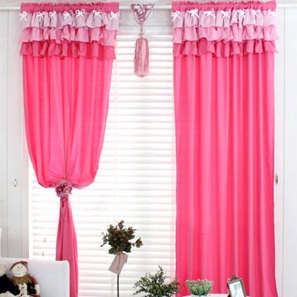 Pink Ruffle Curtain Set