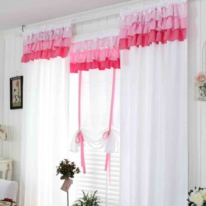 Custom Made Pink Ruffle Curtain Set