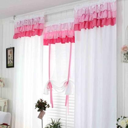 Custom Made Pink Ruffle Curtain Set