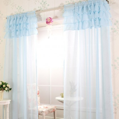 Ruffle Sheer Curtain Set, Light Blue