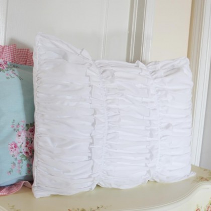 White Ruched Pillow Sham