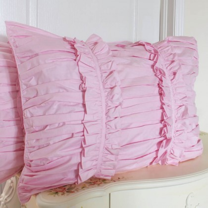 Pink Ruched Pillow Sham