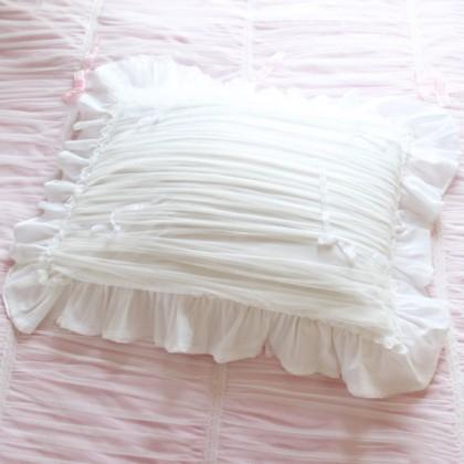 White Ruched Ruffle Sheer Pillow Sham