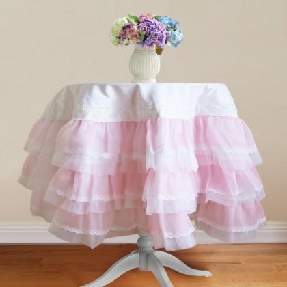 Pink Organza Ruffle Lace Tablecloth