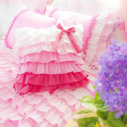 Pink Waterfall Ruffle Ruch Cushion Cover