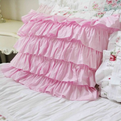 Pink Waterfall Ruffle Sham-Set of 2