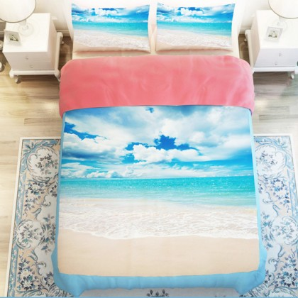 Sand Seashore Blue Sea Duvet Cover Set