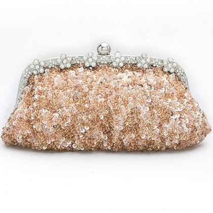 Bead Sequined Purse, Champagne