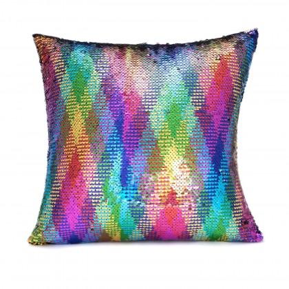 Rainbow Sparkle Glitter Sequin Cushion Cover
