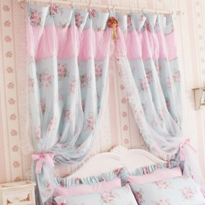 Shabby Blue Rose Curtain Set